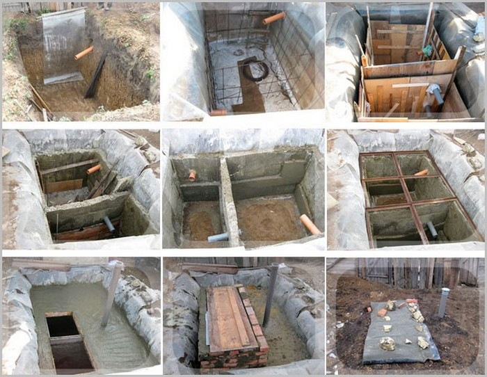схема создания септика из монолитного бетона