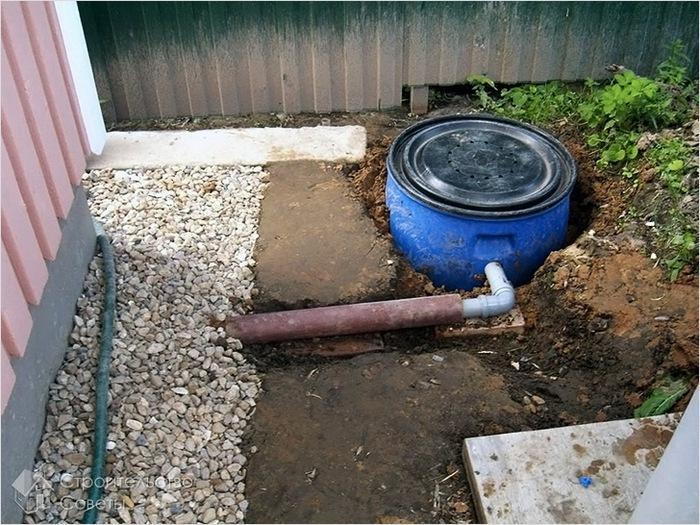канализация из бочки
