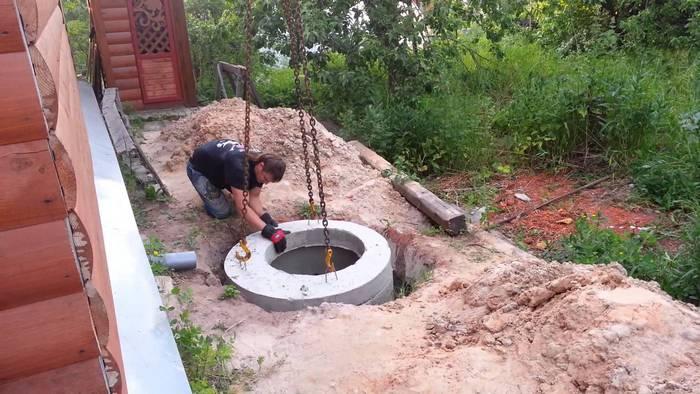 монтаж бетонного септика