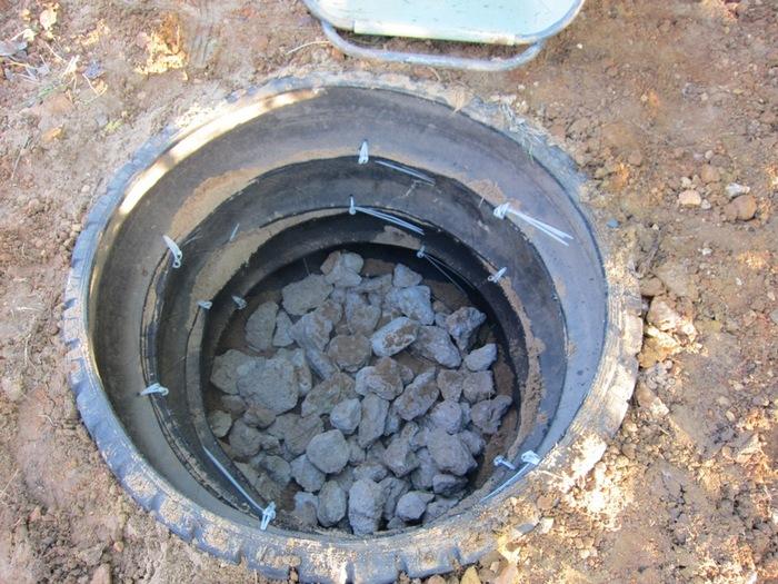 сливная яма из покрышек