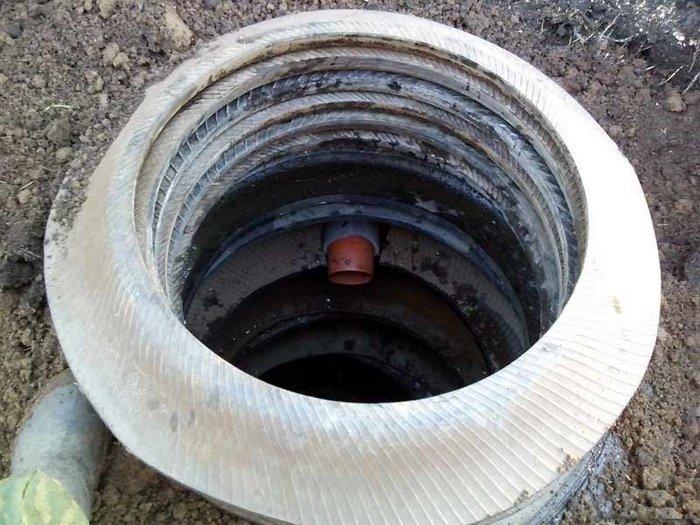 сливная яма из покрышки