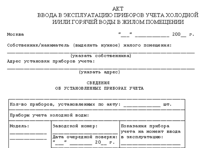 документы о поверке счетчика воды