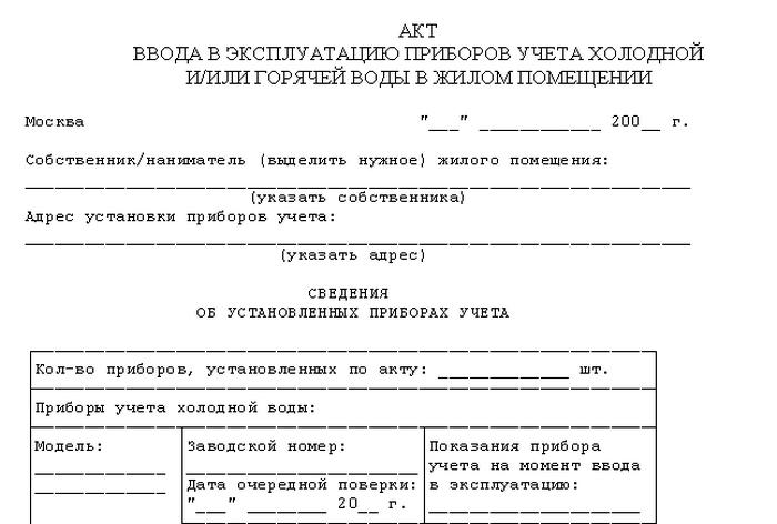 документы по поверке счетчиков воды