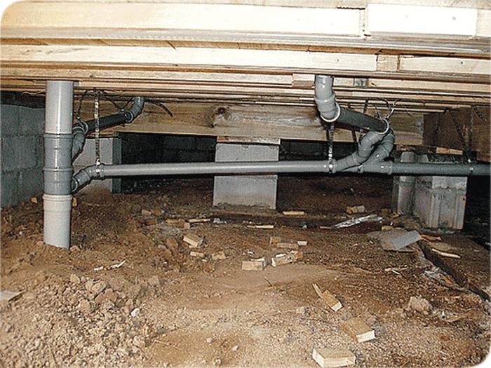 канализация с винтовыми сваями