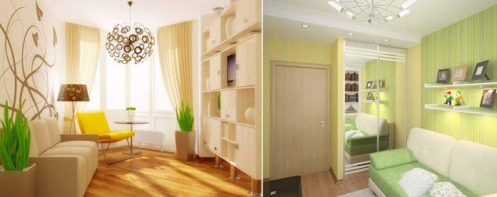 визуальное увеличение маленькой комнаты