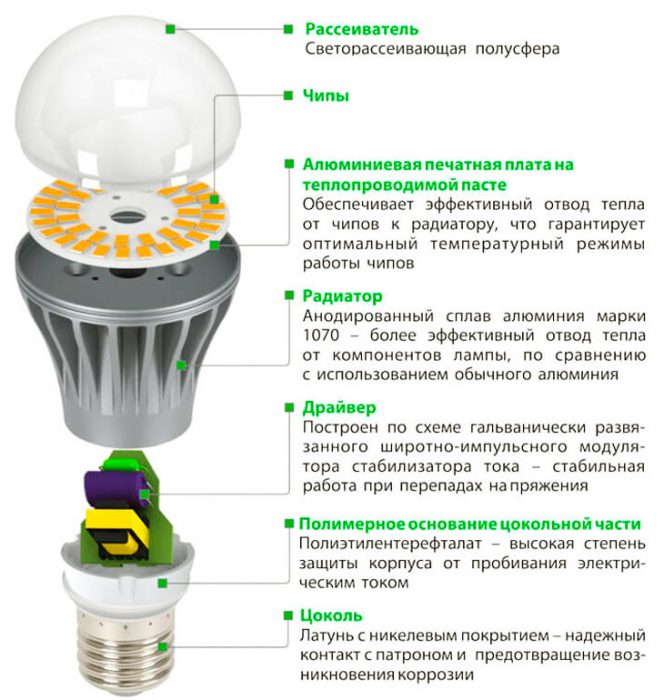 схема устройства лампы на светодиодах
