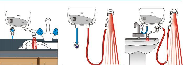 варианты подключения проточного нагревателя