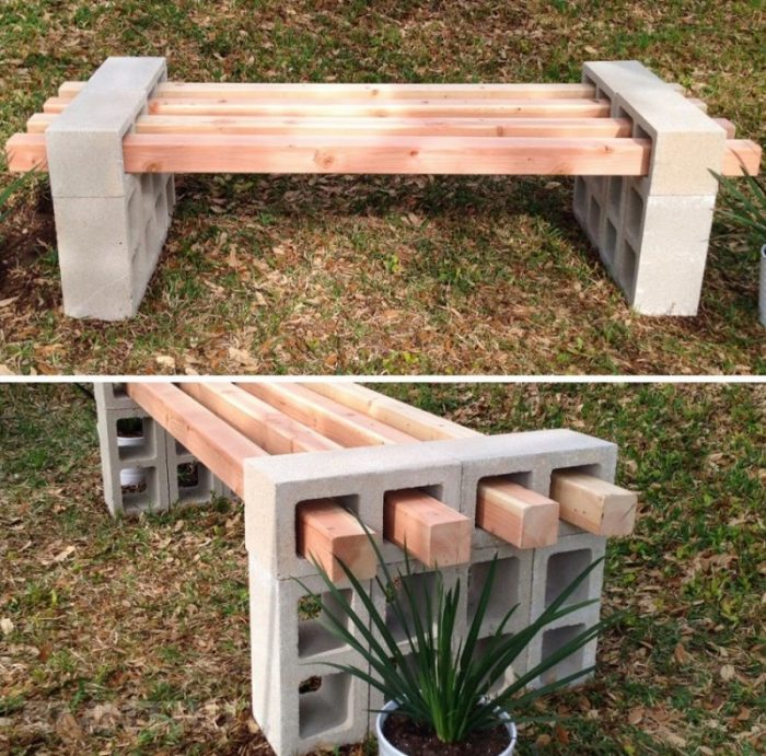 скамейка из шлакоблоков