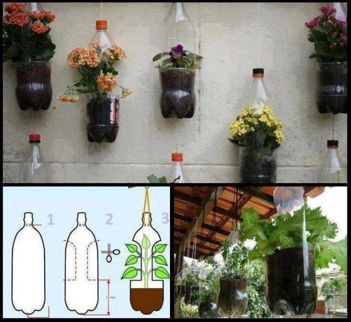 вазоны из пластиковых бутылок