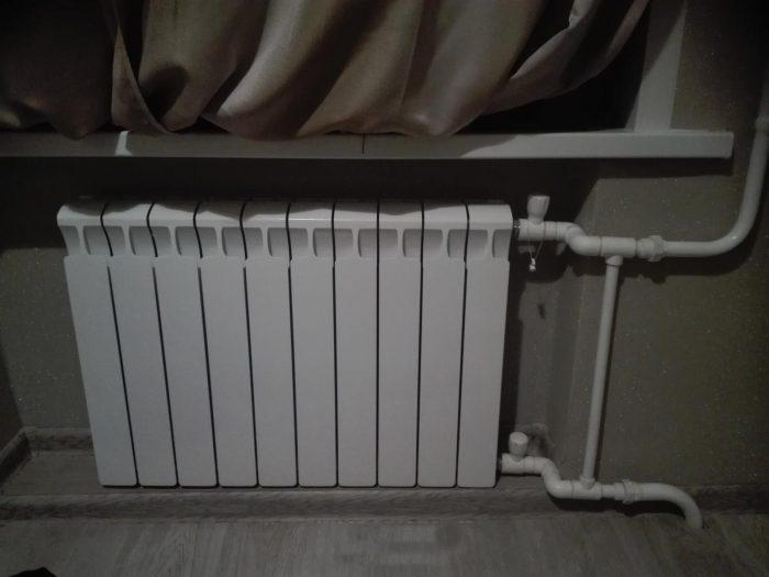 одностороннее подключения радиатора