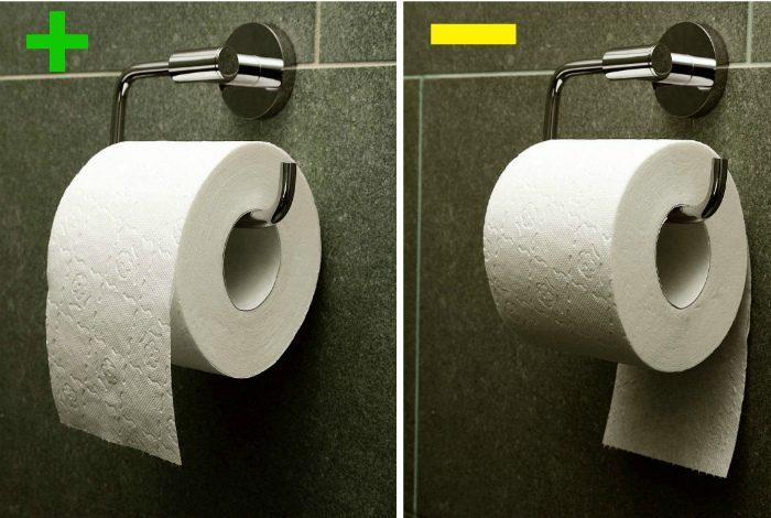 как правильно вешать туалетную бумагу