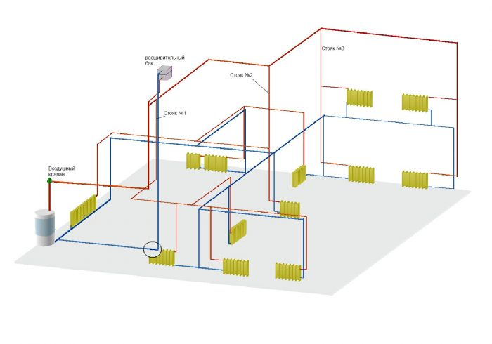 устройство системы в двухэтажном доме