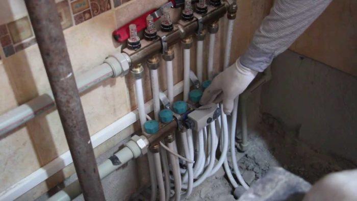 установка коллектора отопления