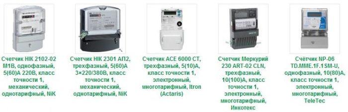 виды электрических счетчиков