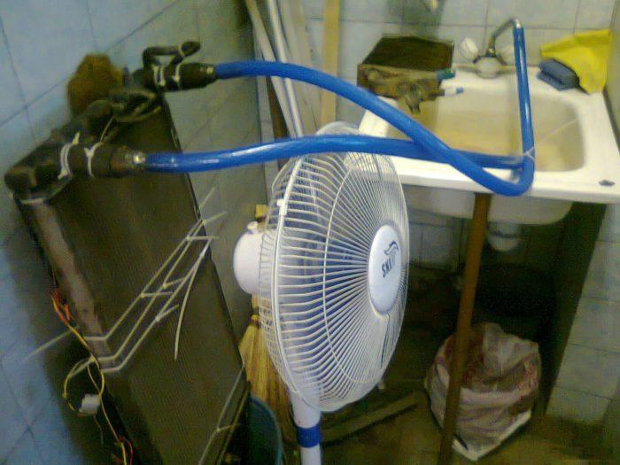 охладитель из радиатора автомобиля