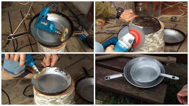 чистим алюминиевую сковородку