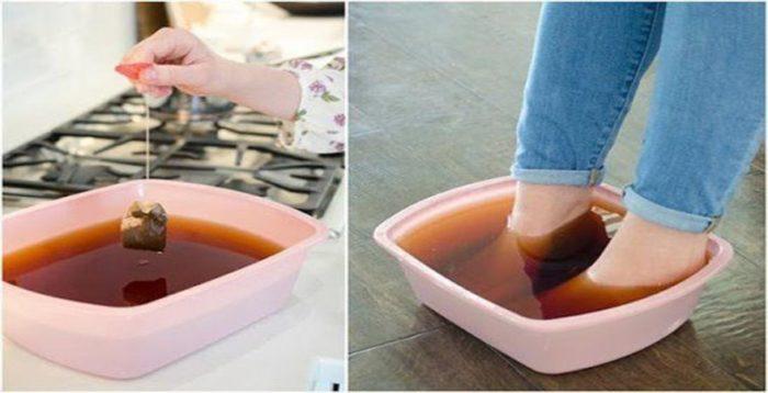 ванна для ног из чайных пакетов