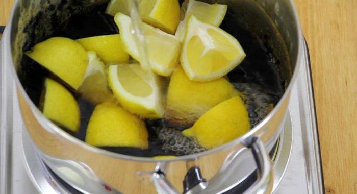 очистка кастрюли лимоном