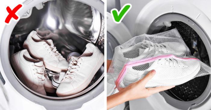 стираем обувь в специальном мешке