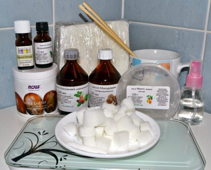 ингредиенты для домашнего мыла