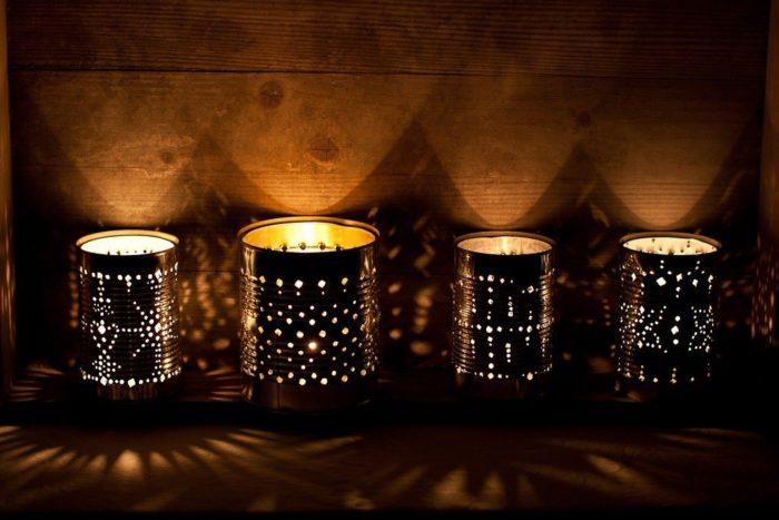 фонарики из консервной банки