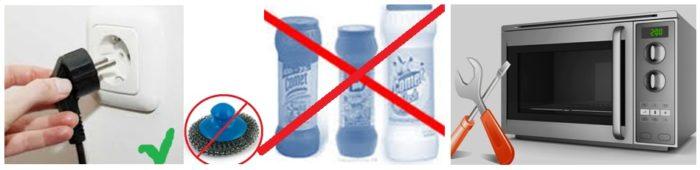 чем нельзя чистить микроволновку