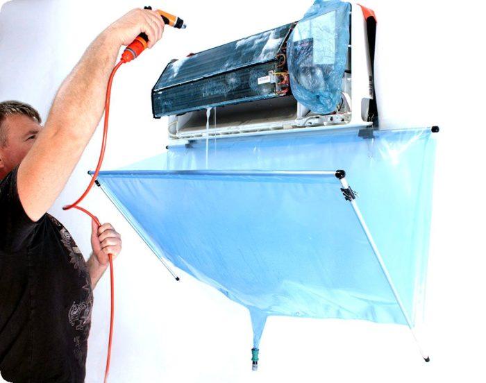 очистка радиатора и вентилятора кондиционера