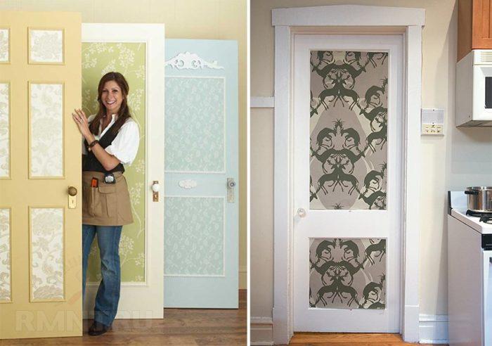 декорация дверей обоями