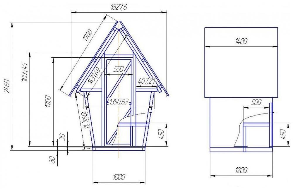 чертеж туалета теремка