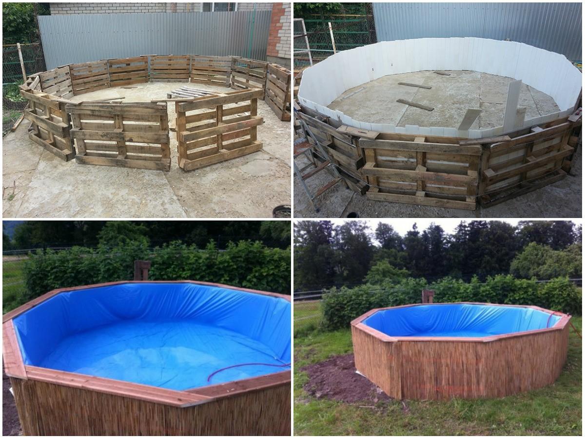 Изготовление бассейна из деревянных поддонов