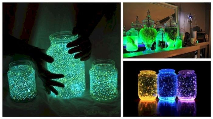 Лампа из банки с флуоресцентным покрытием