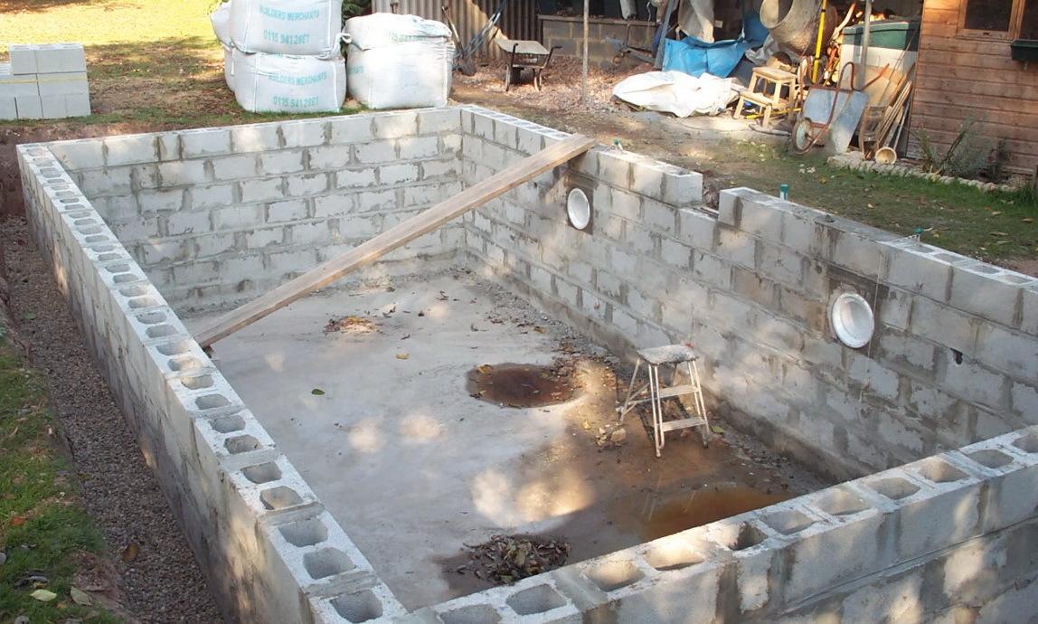фото бассейн из блоков енот домашних