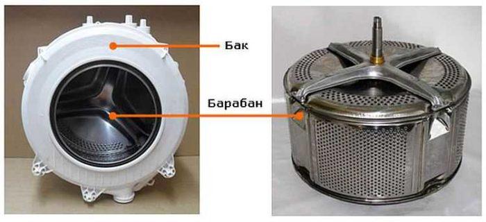 бак и барабан в стиральной машинке