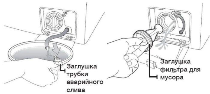 слив воды с насоса стиральной машины