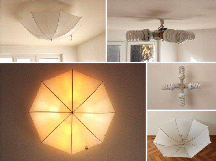 Светильник из зонта