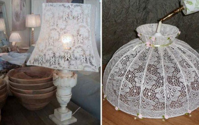 Абажур для лампы или торшера из старого тюля