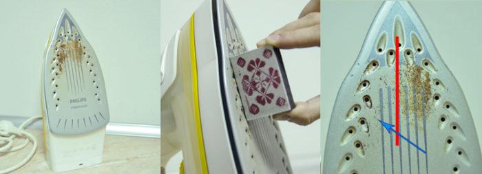 чистим утюг спичечным коробком