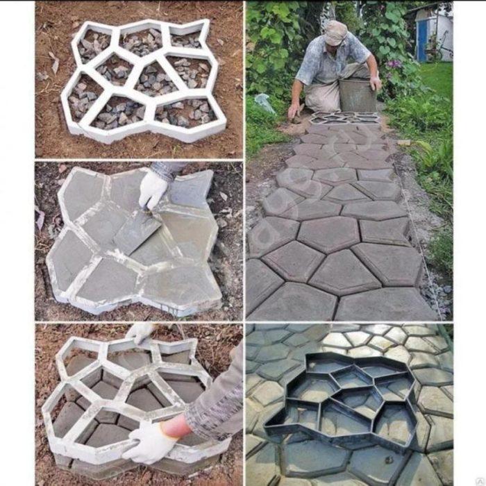 Заливка бетонной дорожки в формах