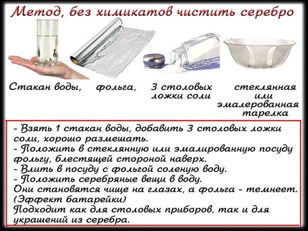 чистка серебра содой и солью