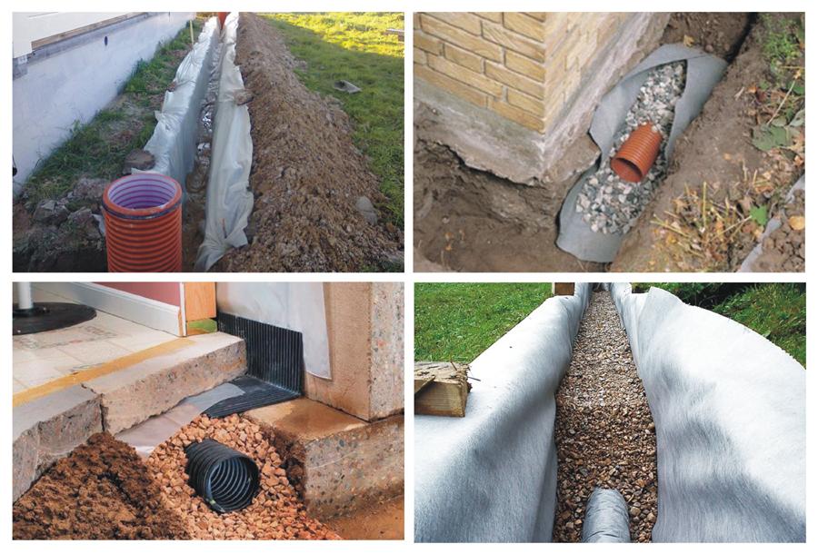 Варианты дренажной системы для отвода воды с отмостки
