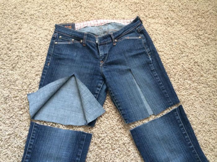 делаем шорты из джинсов