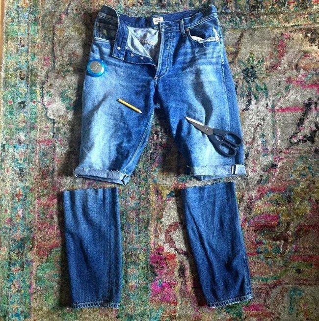инструменты для создания шорт из джинс