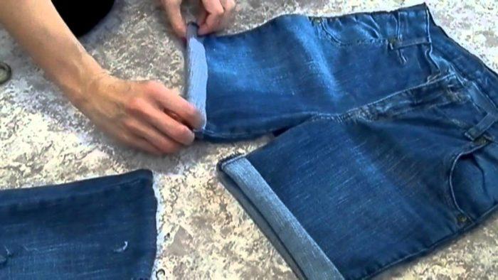 кромка на шортах из джинс