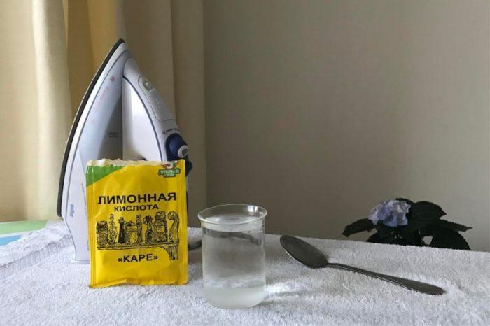 чистим утюг лимонной кислотой