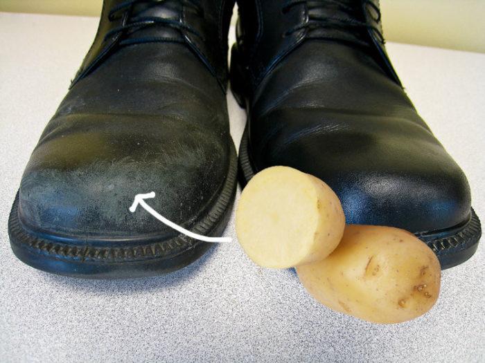 чистка обуви картофелем