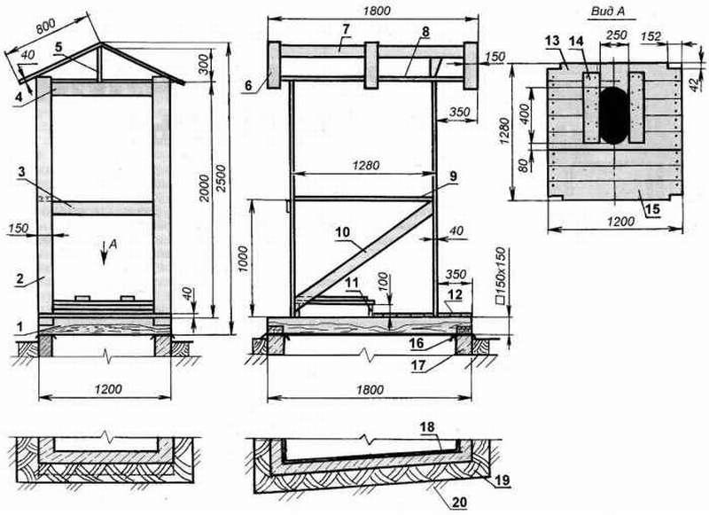 чертеж туалета домика для дачи