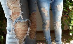 дырки на джинсах с кружевами