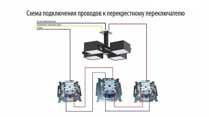 Подключение перекрестного выключателя
