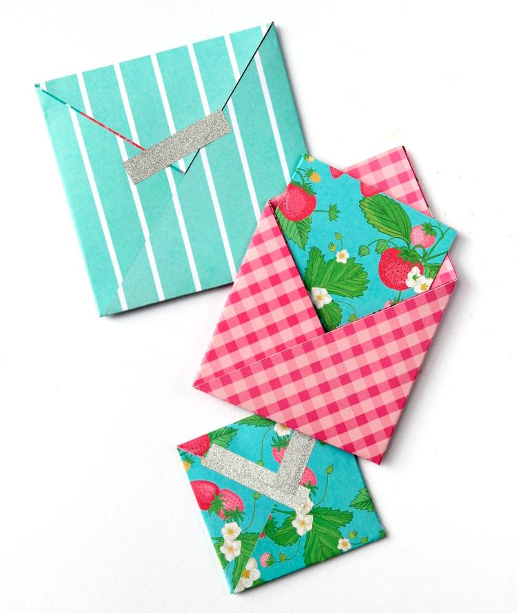 квадратный конверт оригами