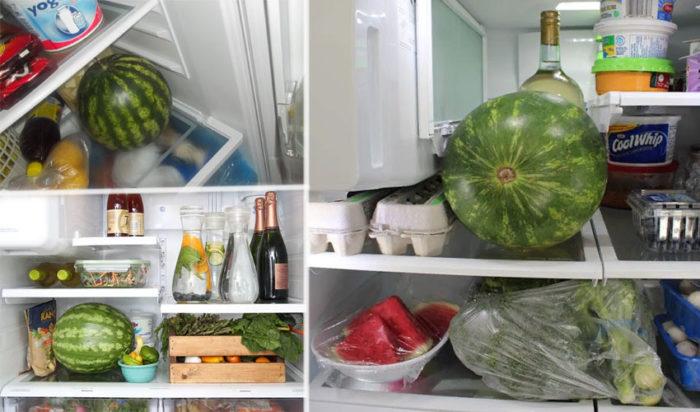 арбузы в холодильнике